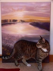 """Heman pausing in front of Peace, 24"""" x 30"""", oil on canvas"""