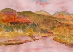 Watercolor painted plen-aire alongside the Chama River, northwest of Ghost Ranch.