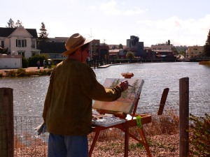 You can see some of the other painters across the Turning Basin.